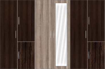 6 Door Wardrobe Design with mirrors | Canterbury Oak and Auburn Oak - Design 1