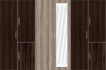 6 Door Wardrobe with mirrors | Canterbury Oak and Auburn Oak - Design 1
