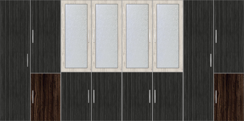 8 Door Wardrobe Design with External Drawers and Frosted Glass|Dordoes Pine and  Sorreal Teak - Design 2