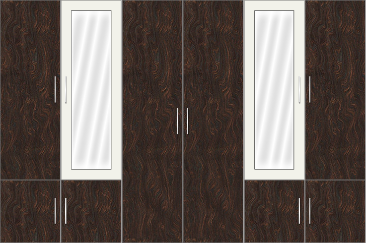 6 Door Wardrobe Design with mirrors |White metal and Carsima Wood