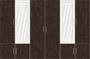 6 Door Wardrobe with mirrors |White metal and Carsima Wood - Design 1