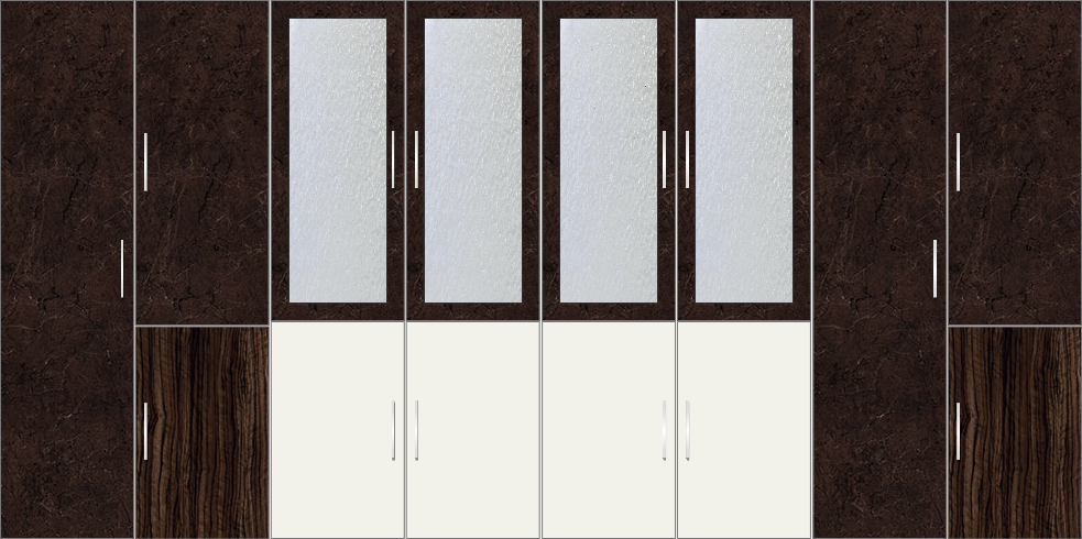 8 Door Wardrobe with external drawers and mirrors| Charsima and White Metal