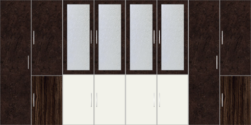 8 Door Wardrobe Design with external drawers and mirrors| Charsima and White Metal - Design 1