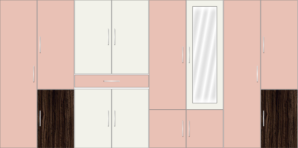 8 Door Wardrobe Design with external drawers and mirrors| Rose Geranium and White Metal