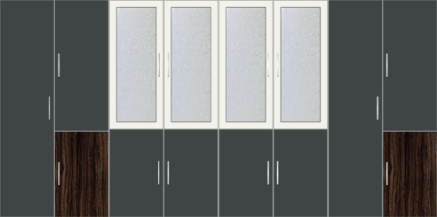 8 Door Wardrobe Design with Frosted Glass and External Drawers |Pearl Black and White - Design 2