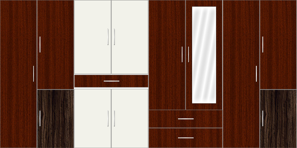 8 Door Wardrobe with mirror and drawers| Mahagony and White Metal
