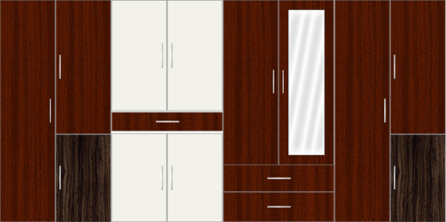 8 Door Wardrobe with mirror and drawers| Mahagony and White Metal - Design 1
