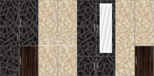 8 Door Wardrobe Design with mirror and external drawers |Trellis Elegant and Corn Yellow Elegant - Design 1
