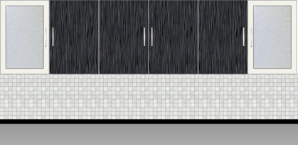 Modular Kitchen Wall Cabinet |White Metal and Onyx Wall - Design 1