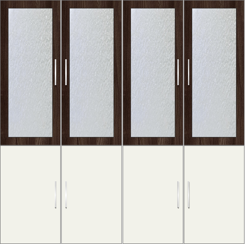 4-Door Wardrobe with frosted glass - Acacia