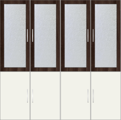 4-Door Wardrobe with frosted glass - Acacia - Design 1