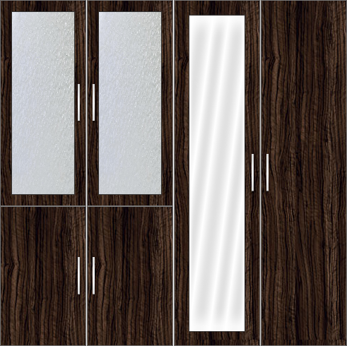 4 Door Wardrobe Design with frosted glass and mirror