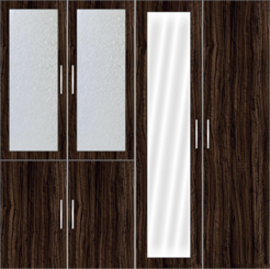 4 Door Wardrobe Design with frosted glass and mirror  - Design 2