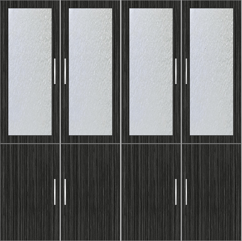 4-Door  Wardrobe with frosted glass - Sorrel Teak