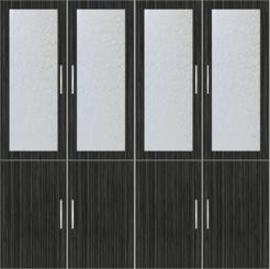 4-Door  Wardrobe Design with frosted glass - Sorrel Teak - Design 2
