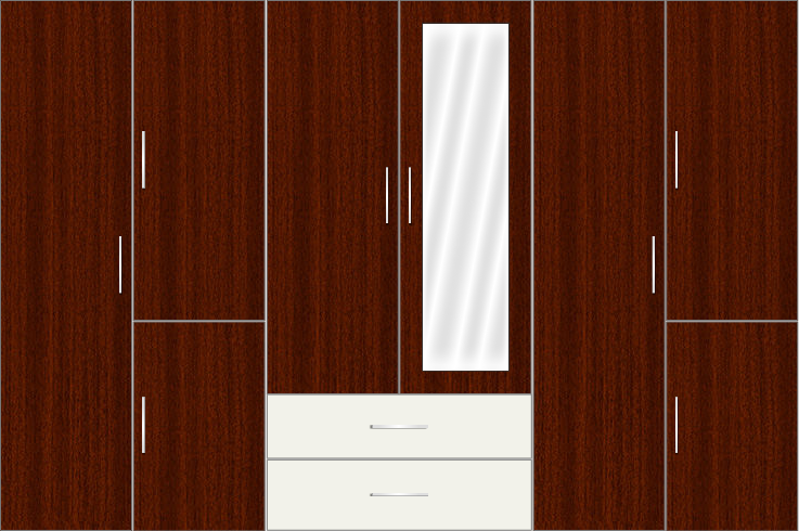6 Door Wardrobe with external drawers and mirrors| Mahagony and White Metal