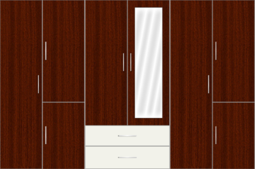 6 Door Wardrobe with external drawers and mirrors| Mahagony and White Metal - Design 2