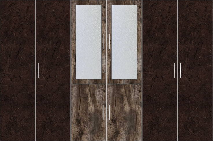 6 Door Wardrobe with frosted glass |Murkey Maple and Twist Marble