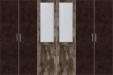 6 Door Wardrobe with frosted glass |Murkey Maple and Twist Marble - Design 2