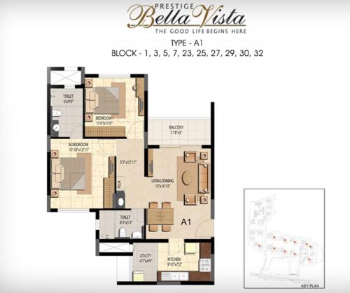 Prestige Bella Vista, Porur - 2BHK - Type A1