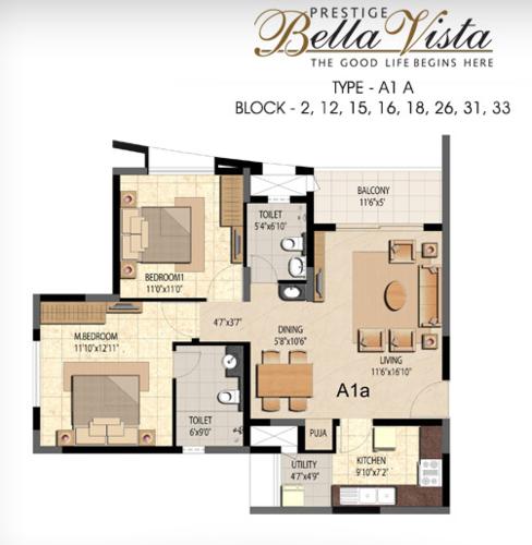 Prestige Bella Vista, Porur - 2BHK - A1 A