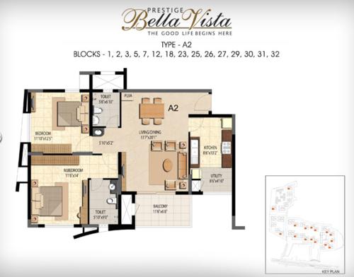 Prestige Bella Vista, Porur - 2BHK - A2