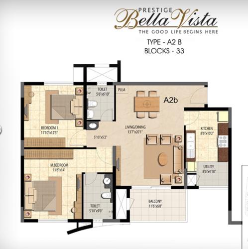 Prestige Bella Vista, Porur - 2BHK - A2 B