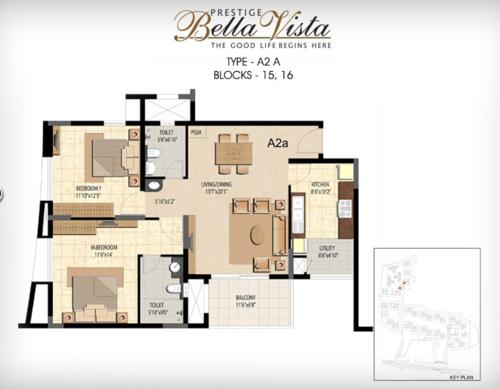 Prestige Bella Vista, Porur - 2BHK - A2 A
