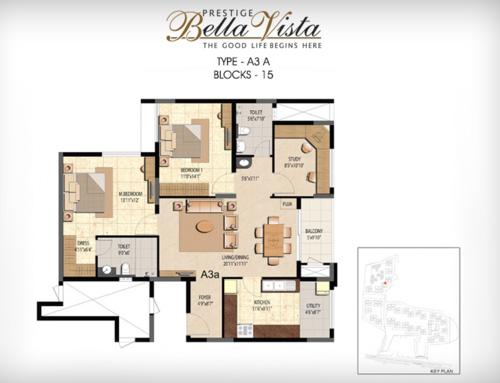 Prestige Bella Vista, Porur - 3BHK - A3 A
