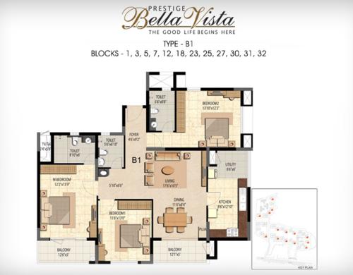 Prestige Bella Vista, Porur - 3BHK - B1