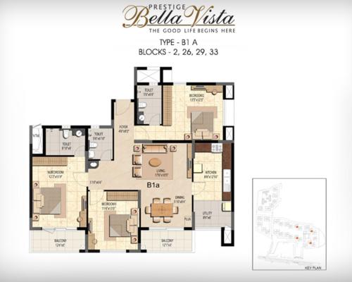 Prestige Bella Vista, Porur - 3BHK - B1 A
