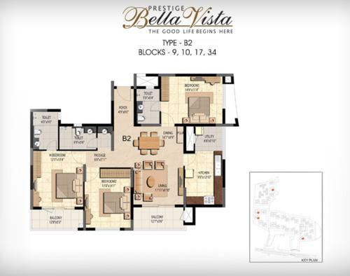Prestige Bella Vista, Porur - 3BHK - B2