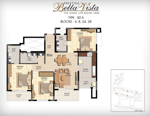 Prestige Bella Vista, Porur - 3BHK - B2 A