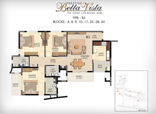 Prestige Bella Vista, Porur - 3BHK - B3