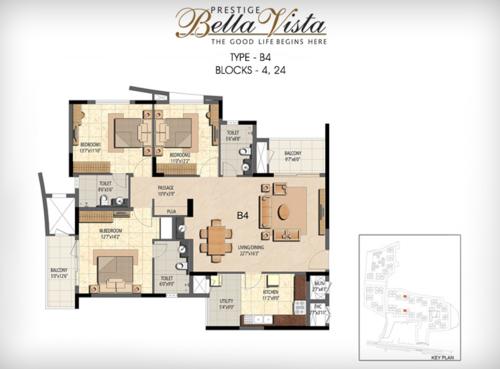 Prestige Bella Vista, Porur - 3BHK - B4