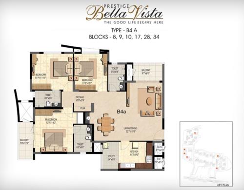 Prestige Bella Vista, Porur - 3BHK - B4 A
