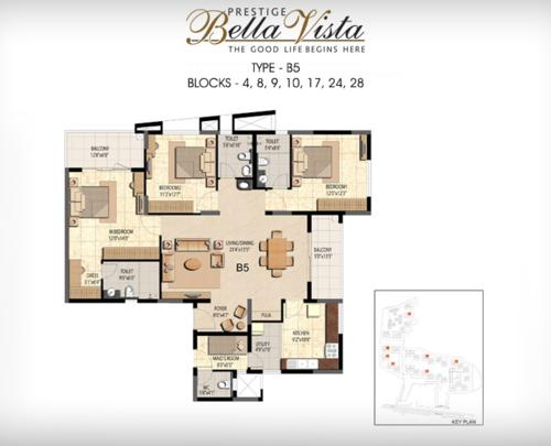 Prestige Bella Vista, Porur - 3BHK - B5