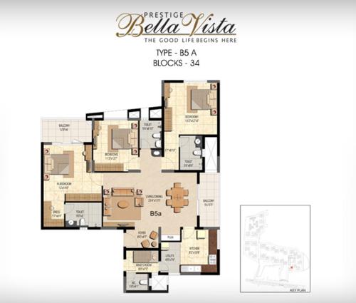 Prestige Bella Vista, Porur - 3BHK - B5 A