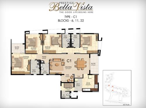 Prestige Bella Vista, Porur - 3BHK - C1