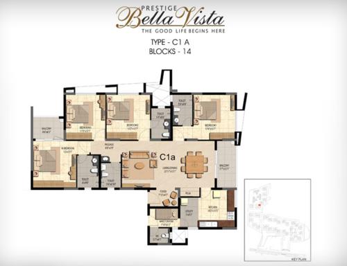 Prestige Bella Vista, Porur - 3BHK - C1 A