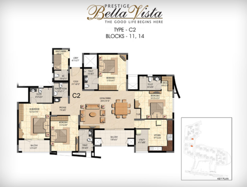 Prestige Bella Vista, Porur - 3BHK - C2