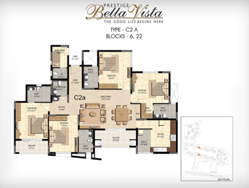 Prestige Bella Vista, Porur - 3BHK - C2 A