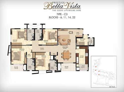 Prestige Bella Vista, Porur - 3BHK - C3