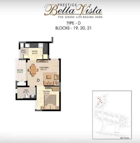 Prestige Bella Vista, Porur - 1BHK - D