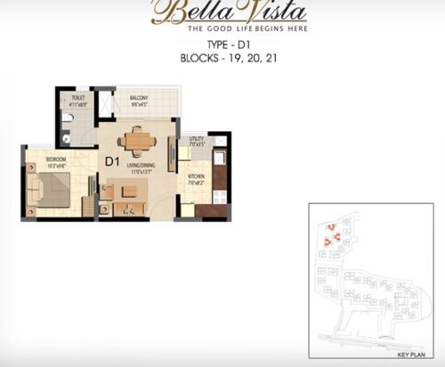 Prestige Bella Vista, Porur - 1BHK - D1
