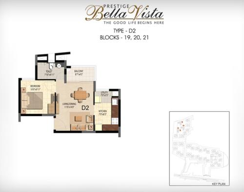 Prestige Bella Vista, Porur - 1BHK - D2