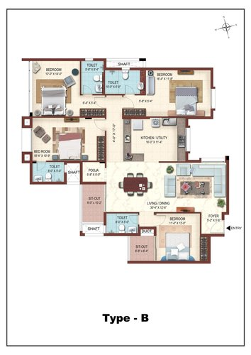 Casa Grande The Address, Karapakkam, OMR - 3BHK - Type B
