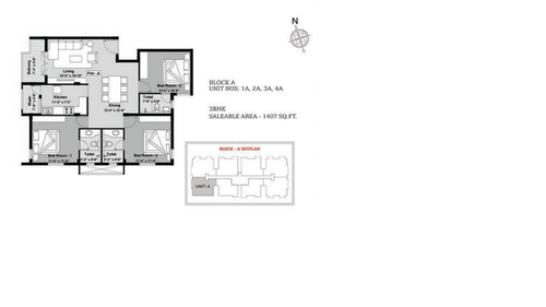 BBCL Ashraya, Thoraipakkam - 3BHK - Block A - 1A, 2A, 3A, 4A