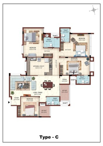 Casa Grande The Address, Karapakkam, OMR - 3BHK - Type C