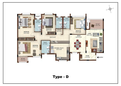 Casa Grande The Address, Karapakkam, OMR - 3BHK - Type D